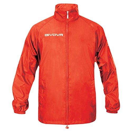 GIVOVA RAIN BASICO K-WAY IMPERMEABILE ALLENAMENTO TRAINING CALCIO RUNNING GIACCA rosso - rosso