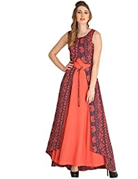Raas Prêt Women's Crepe Traditional Printed Layered Anarkali Gown (Rust Orange,Blue)