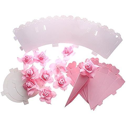 Cajas de Caramelo Bolsa de Dulce Cesta Flor Rosa Forma de Cono Decoración Favor Fiesta Boda Bricolaje - Rosado