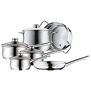 wmf cookware set 6 piece diadem plus pouring rim glass lid cromargan stainless steel brushed. Black Bedroom Furniture Sets. Home Design Ideas