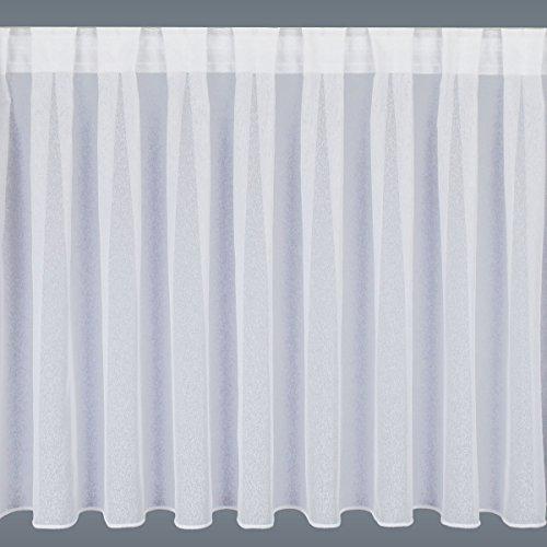 """Preisvergleich Produktbild Fertiggardine Wohnwagenstore """"Sophie"""" weiß / Höhe 60-80cm nach Maß (Wunschhöhe angeben) / Abschluss unten Zinkband oder Stabsaum"""