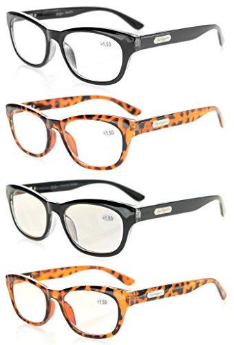 Eyekepper 4-Stuecke Qualitaet Federscharnier Herren Damen Lesebrille stilvoll-Kristall Klar Sicht 2 Computer-Brille enthalten +3.0