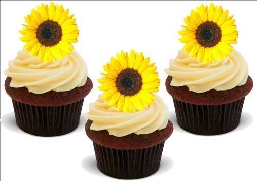 SONNENBLUME -. 12 essbare hochwertige stehende Waffeln Kuchen Toppers, SUNFLOWER - 12 Standup Premium Wafer Cake Toppers