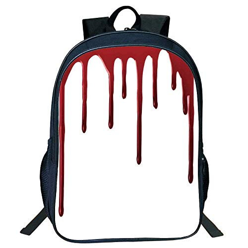 HOJJP Schultasche Stylish Unisex School Students Black Horror,Flowing Blood Horror Spooky Halloween Zombie Crime Scary Help me Themed Illustration,Red White Kids,