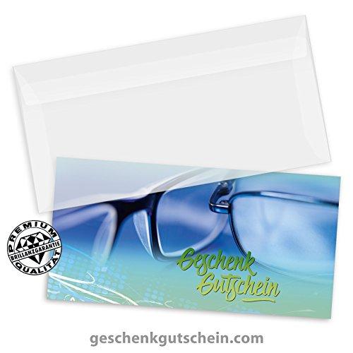 50 Stk. Hochwertige Gutscheinkarten Geschenkgutscheine DIN-lang + 50 Stk. Kuverts für Optiker, Brillenhändler, Brillenläden OP9252, LIEFERZEIT 2 bis 4 Werktage!