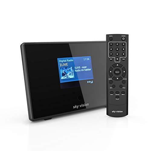 sky vision DAB 200 S Digital Radio Adapter mit Bluetooth für HiFi und Stereoanlagen I Radio Receiver mit UKW/DAB+ Empfang mit Radiowecker und LCD Display (schwarz)