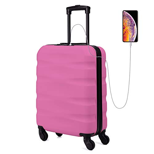 Toctoto 55x40x20cm Maximum Size Carry On Hand Cabin Luggage Suitcase,Valigia Rigida da Viaggio con Porta di Ricarica USB,Bagaglio a Mano Unisex con Lucchetto TSA(55cm-31.5L) (Fuxia)