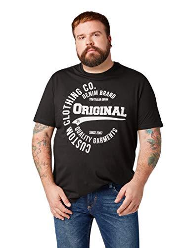 TOM TAILOR Denim Herren Lässiges Kurzarm T-Shirt von Tom Tailor hat einen angesagten Statement Print T-Shirt, per Pack Schwarz (Black 29999), XXXXX-Large (Herstellergröße: XXXXXL)