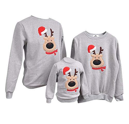 felpe natale famiglia maglioni natalizi felpa maglie natalizie uomo pullover natalizio maglione natalizia girocollo bambina bambini donna senza cappuccio renna coppia invernali casual larghe grigio l