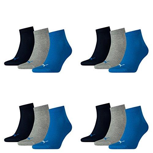 Puma 12 Paar Unisex Quarter Socken Sneaker Gr. 35-49 für Damen Herren Füßlinge, Socken & Strümpfe:43-46, Farbe:277 - blue/grey mélange