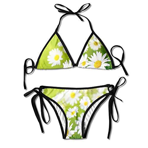 Sdltkhy Beautiful Daisy Flowers On Sun Womens Triangle Top Bikini Swimsuit Sliding Swimwear -