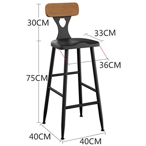 GJM Shop tabouret pivotant à 360 ° réglable en hau Fer + Bois Chaise De Bar Avec Dossier Élargissement Du Repose-pieds Tabourets De Bar Ménage Bar Café Tabouret Haut --- Sponge + Leatherette / surface de chaise en bo ( taille : 40*40*105cm )