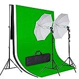 Amzdeal Fotostudio Set mit 3x1,6m Baumwolle Hintergrundstoff 3 Farben (Weiß Schwarz Grün), 2x135W Dauerlicht Fotolampe, Stativ,Tragtasche und Schirm Reflexschirm Set