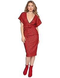 Aarzoo Women's Leopard Print Bodycon Evening Midi Dress