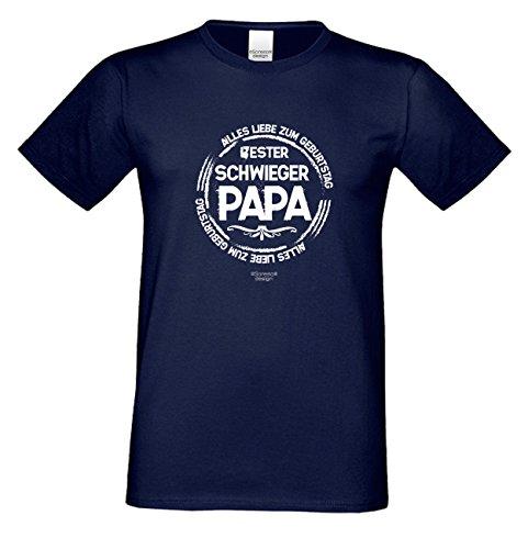 Herren Sprüche Fun T-Shirt wunderschönes Geburtstags-Motiv-Geschenk Bester Schwiegerpapa für Ihren Schwiegervater 3XL 4XL 5XL Farbe: navy-blau Navy-Blau