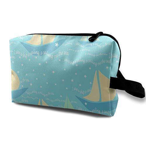 Ein Wiegenlied Ich sah ein Boot A-Segeln, ein Segeln auf dem Meer_748 Makeup Organizer Kosmetiktasche Beutel Mädchen Klassischer Fall Wasserdichte Frauen Mädchen Blaue Blumen