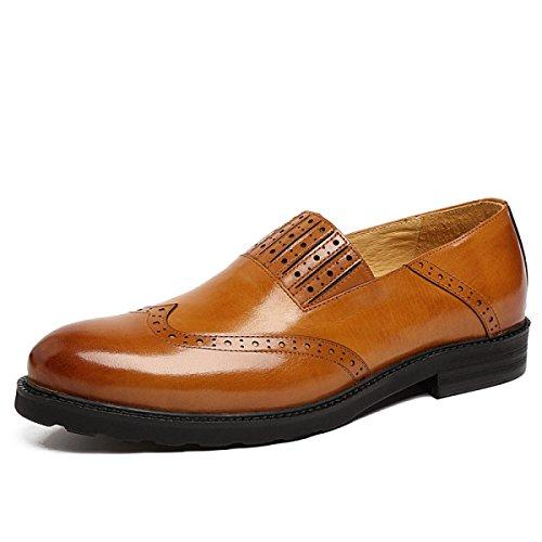 GRRONG Chaussures En Cuir Pour Hommes Vêtements Décontractés D'affaires Banquet D'usure Confortable brown