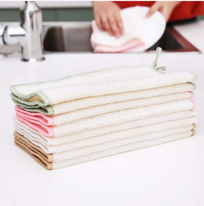 XXCKA Wipe Bamboo Fiber Dish Towel Thick Not Easy To Oil The Kitchen To Oil Absorption Clean And Easy To Lose Hair 6 Pieces 25 * 25Cm Color Random