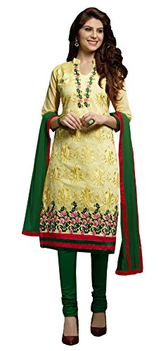 Blissta Yellow Embroidered Chanderi Salwar Suit Dress Material(Diwali special 2017, ,great indian festival sale,festival offer,best deals of the day,traditional for women,sales offers)  available at amazon for Rs.999