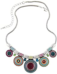 Collar Mujer ZARU 1PC Mujeres Gargantilla Estilo étnico de la vendimia plateada Collar llamativo colgante