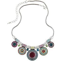 Collar Mujer ZARU 1PC Mujeres Gargantilla Estilo étnico de la vendimia plateada Collar llamativo colgante (B)