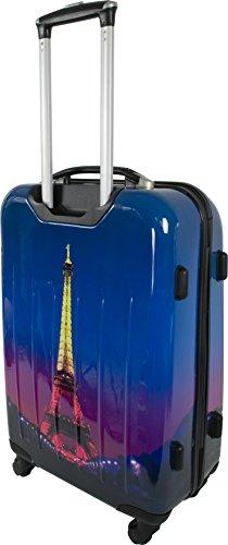 4 Rollen Hartschalenkoffer Koffer Trolley Reisetrolley Hartschale inkl. Zahlenschloss Paris Nightlife