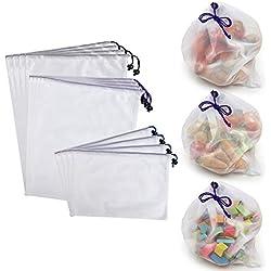 Btsky-Einkaufstaschen/Aufbewahrungsbeutel, wiederverwendbar, umweltfreundlich, waschbar, aus Netzstoff, mit Kordelzug, Textil, Multicolor/White, 12 Stück