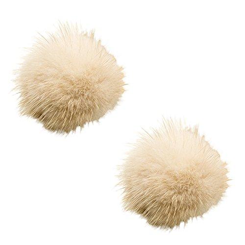 Tooky, set con 2 pompon di pelo rimovibili, a clip, per scarpe da donna o per pochette, perfetti come accessorio per un matrimonio  e lega, colore: beige, cod. pl-1