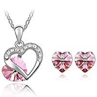 Beydodo Women's Earrings Necklace Set White Gold Plated (Jewelry Set) Heart Rose Crystal,Stud Earrings