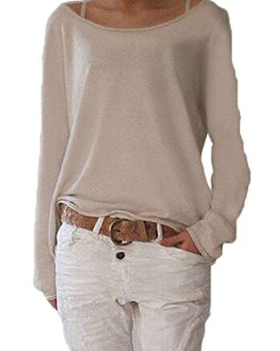 Damen Langarmshirts T-Shirt Rundhals Ausschnitt Lose Bluse Hemd Pullover Oversize Sweatshirt Oberteil Tops Brown M