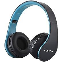 Sunvito Auriculares Bluetooth 4.0 de Diadema Plegable,4 en 1 Estéreo Bass Inalámbrico Auriculares con Reproductor MP3,FM Radio,Auriculares con Cable,Mic Arriba-Oreja para iPhone PC Andriod Azul