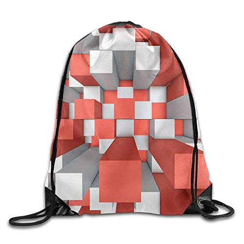 Illustration Of Abstract Mosaic Three Dimensional Grey And Red Background Drawstring Bags Sports Backpack Sport Bag For Men & Women