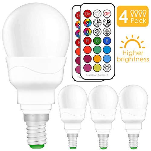 (4 Pack)LED RGBW Lampen, Ersetzt 50W E14 Glühlampen Dimmbar Glühbirne, inklusive Fernbedienung, Farbwechsel Lampen, E14 LED Birnen, E14 LED Leuchtmittel -