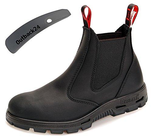 Redback BUBBK Work Boots Arbeitsschuhe aus Australien UNISEX - Black - mit schwarzer Sohle + Schuhlöffel (UK 11.5 / EU 46.5)