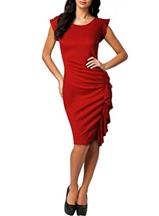 Miusol Damenkleid Volant Kleid Etuikleid Cocktailkleid Abendkleid Business Tops Fit 36-44 (40/L, Rot)