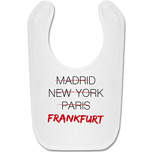 Städte & Länder Baby - Weltstadt Frankfurt - Unisize - Weiß - BZ12 - Baby Lätzchen Baumwolle