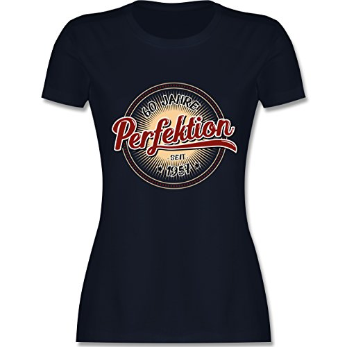 Geburtstag - 60 Jahre Perfektion seit 1957 - tailliertes Premium T-Shirt mit Rundhalsausschnitt für Damen Navy Blau