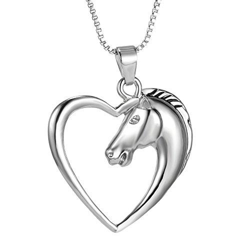 Hanessa Damen-Schmuck Edle Pferd Halskette in Silber Pferde-Kopf Herz Tier-Freund Geschenk für Mädchen Pferdeliebhaber Reiten