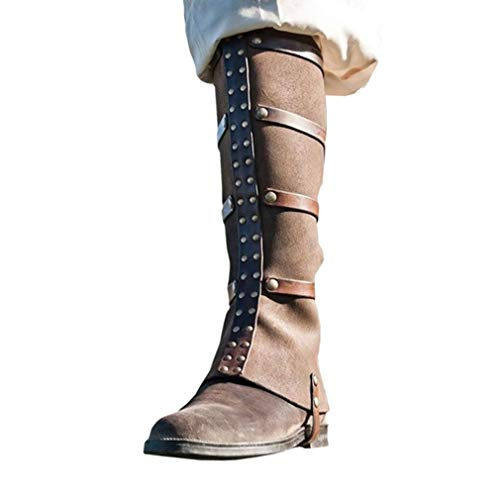 Mxssi Piraten Gamaschen Pirat Überschuh Stiefelstulpen Mittelalter Stulpen Lace-up Schnalle Shoes Covers Gothic Steampunk Pirate Boot Cover (Boot Überschuhe Kostüm)