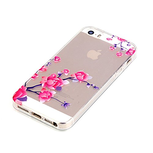 iPhone 5S Hülle Case,iPhone SE Hülle Case,Gift_Source [Crystal Clear] Fashion Colorful Silicone Protective Hülle Case Premium Flexible Transparent Soft TPU Slim Hülle Case Cover für iPhone SE/5S/5 [Pl E01-05-Flower