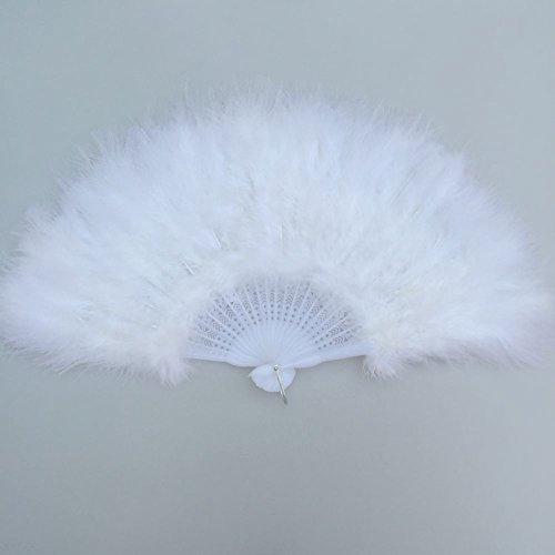 (Sowder Marabufedern handgefertigt Fan für Home Party Decor Dance Show Kleidung Hochzeit Dekoration weiß)