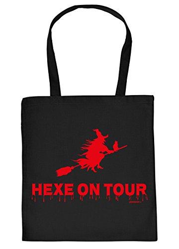 (Halloween Tasche - Coole Tragetasche für Süßigkeiten : Hexe on Tour - Baumwolltasche Hexe Fliegender Besen - Farbe: Schwarz)