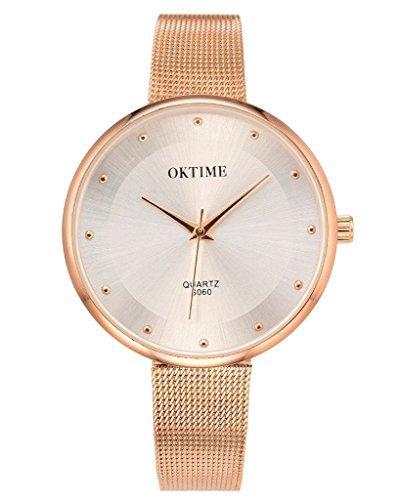 JSDDE Elegante Damen Armbanduhr Quarz Wasserdicht Schöne Zeitloses Design Uhr Mesh Metallarmband Quarzuhr,Rosegold (Casual Kleider Schön)