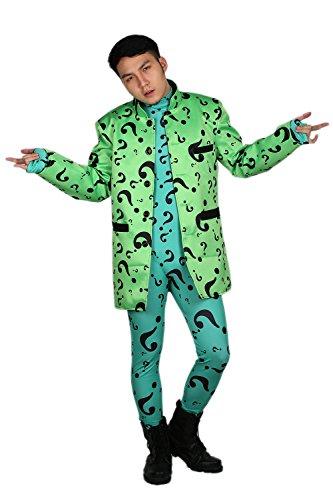 Erwachsene Cosplay Kostüm Grün Mantel Anzug mit Voller Bodysuit Jumpsuit Overall Top Outfit Jacke Herren Kleidung