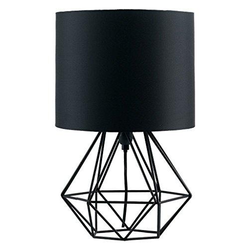 Home experience- Industrielle kreative Tischlampe, Lampenschirm des schwarzen Gewebes und Metallkorb-Käfig-Art lampbase für Schlafzimmerschreibtischlicht ( Farbe : Schwarz-Dimm-Schalter ) Kinder Fehler Käfig