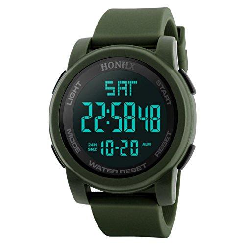 Reloj deportivo multifuncional militar para hombres, impermeable, diseño simple con números grandes en pantalla LCD digital, Reloj casual con cronómetro y fecha, correa de goma negra, Green 2, Spor