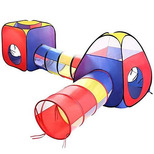 ANAGRE Tent, Kinder Spielzelt Faltbar Spielhaus Draußen Krabbeltunnel 4-teilig