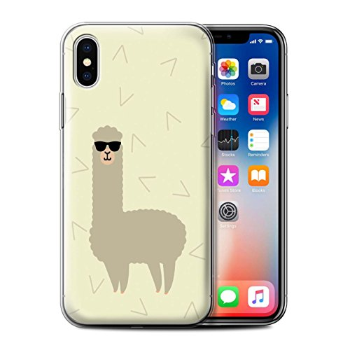Stuff4® Gel TPU Hülle/Case für Apple iPhone X/10 / Coole Sonnenbrille Muster/Karikatur Alpaka Kollektion