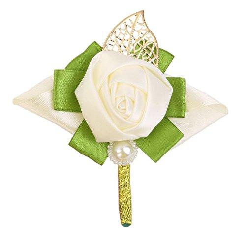 Kostüm Desert Festival - IU Desert Rose Hausbedarf Rose Satin Boutonniere Hochzeit Braut Brautjungfer Blume Kostüm Zubehör Frauen Geschenk (Milch Weiß)