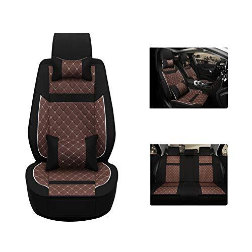 Leinen Autositzbezug, Baumwoll- und Leinenmischung Atmungsaktiver und bequemer Sitzbezug, vollständig geschlossenes Sitzkissen, geeignet für Fünf-Sitz-Auto,Brown